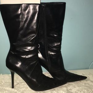 Aldo Black Leather Upper Heel Boots